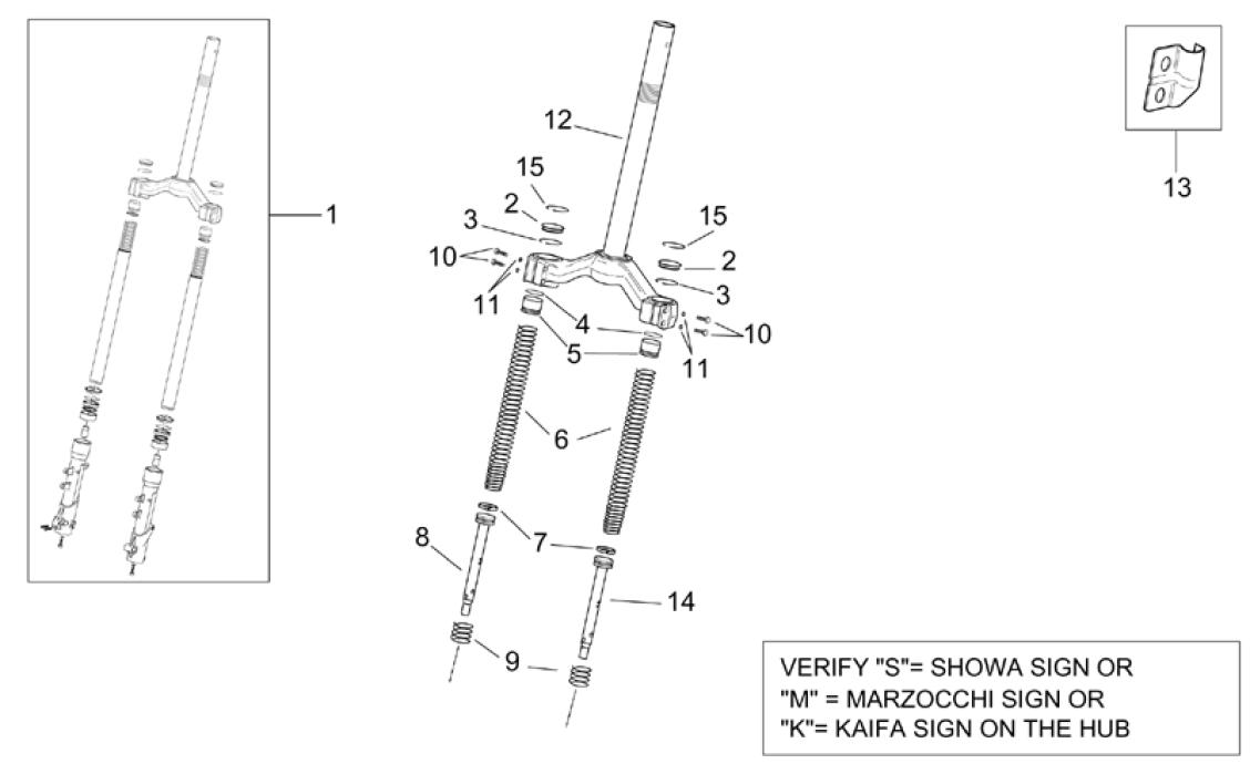 Front fork I - Components at Aprilia Genuine Parts, Aprilia Parts