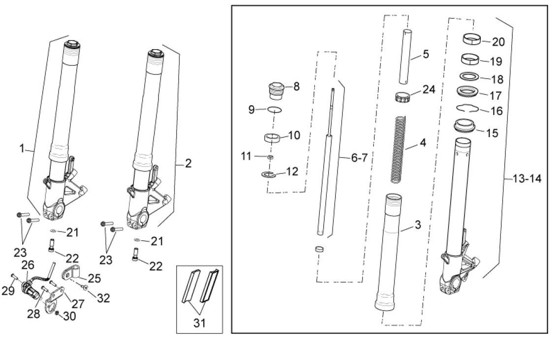 Front fork - Components at Aprilia Genuine Parts, Aprilia Parts