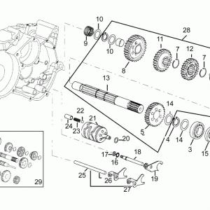 Driven shaft 5 speed gearbox