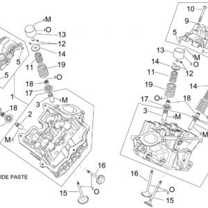 Cylinder head and valves