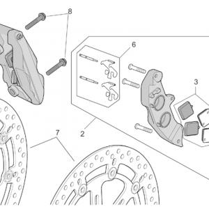 R-RF vers. front brake caliper